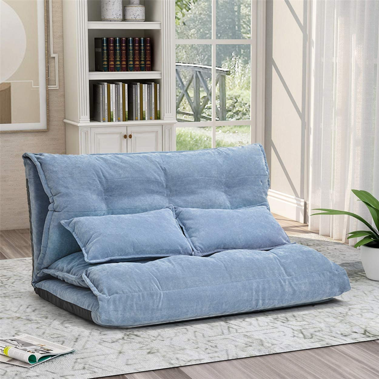Floor Couch Lounge Foldable Lazy Sofa Bed 5 Angle Adjustment Leisure Cushion Seating with Two Pillows for Living Room and Bedroom Light Blue
