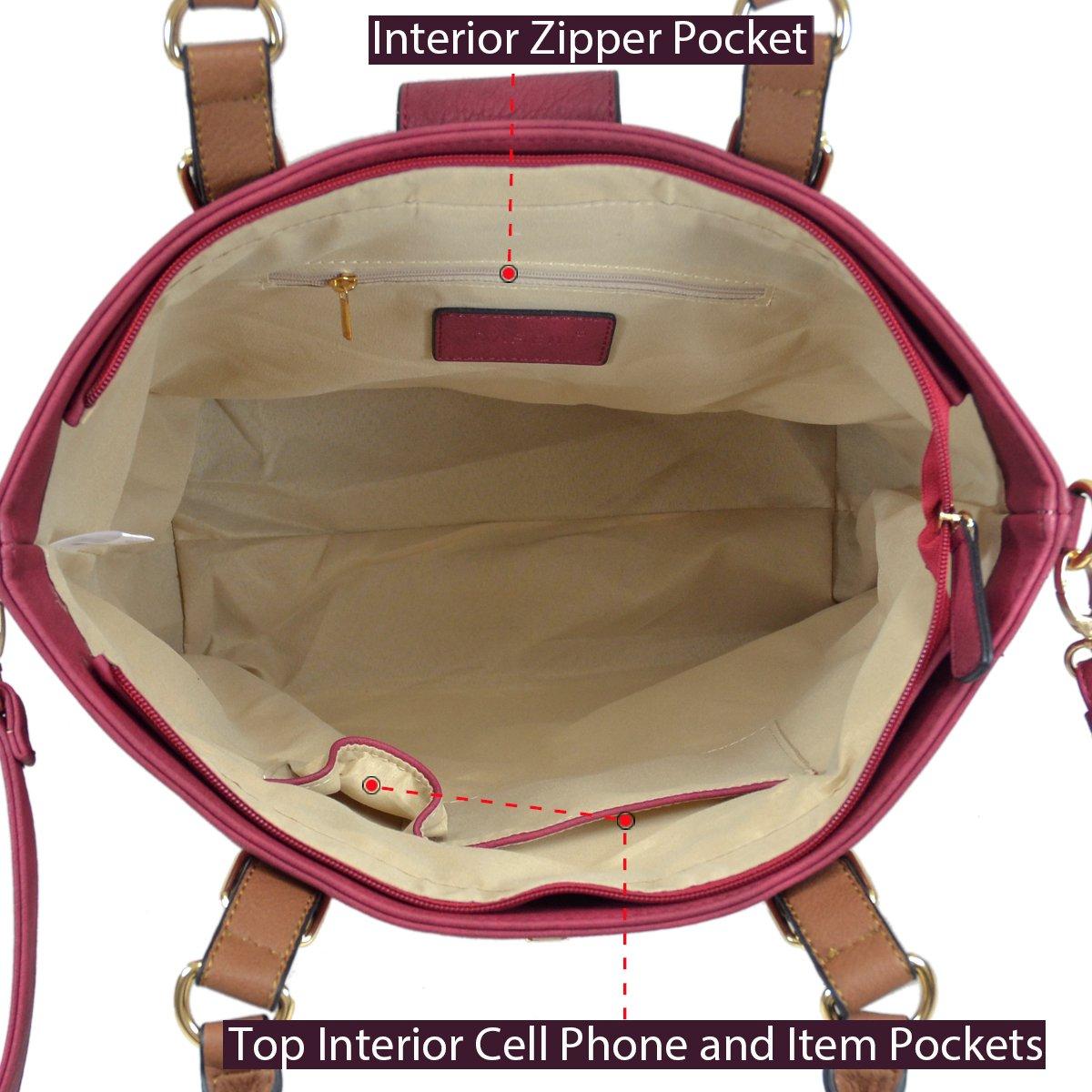 MMK collection Fashion handbag~Classic Tote bag~Holiday gift purse with Wallet~Beautiful Handbag wallet set~Crossbody handbag (MA-07-6717-BK/CF) by Marco M. Kelly (Image #6)