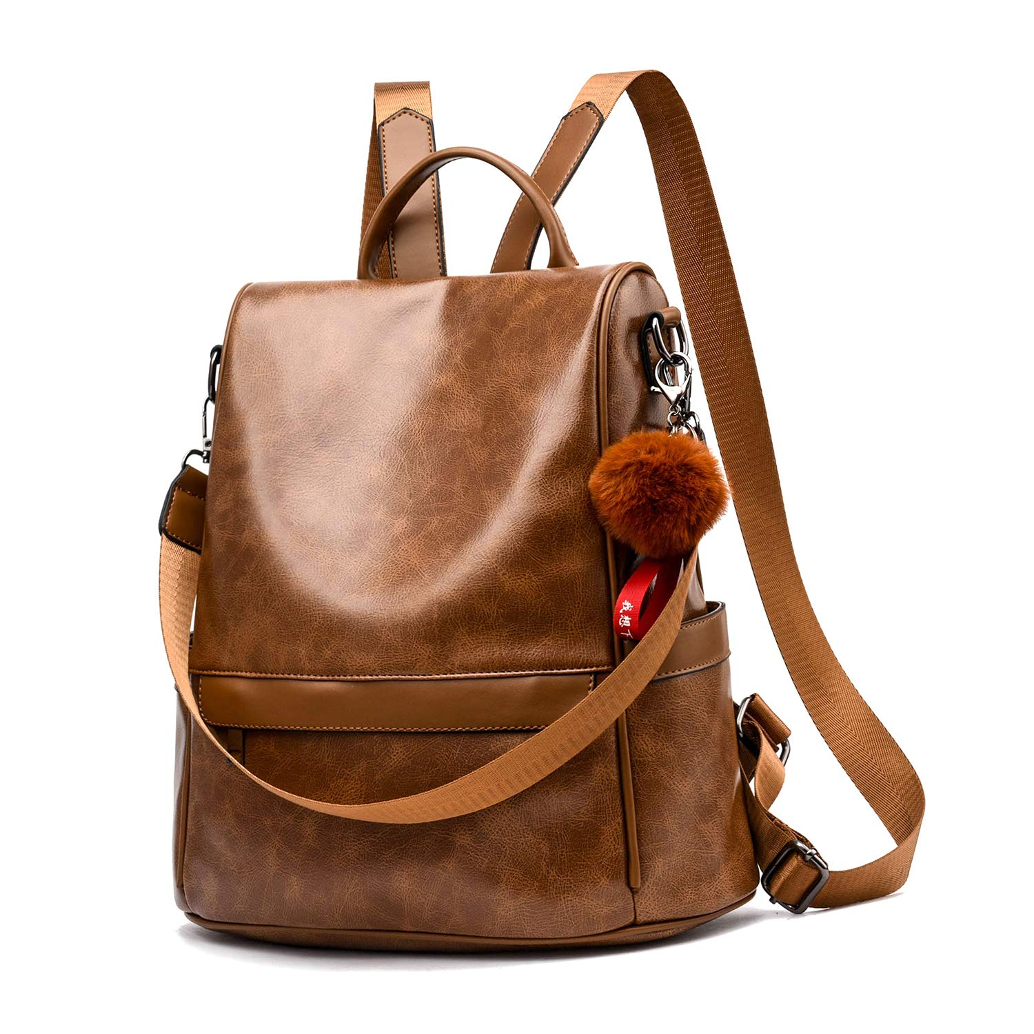 Women Backpack Purse PU Leather Anti-theft Casual Shoulder Bag Fashion Ladies Satchel Bags(Tan) by Cheruty