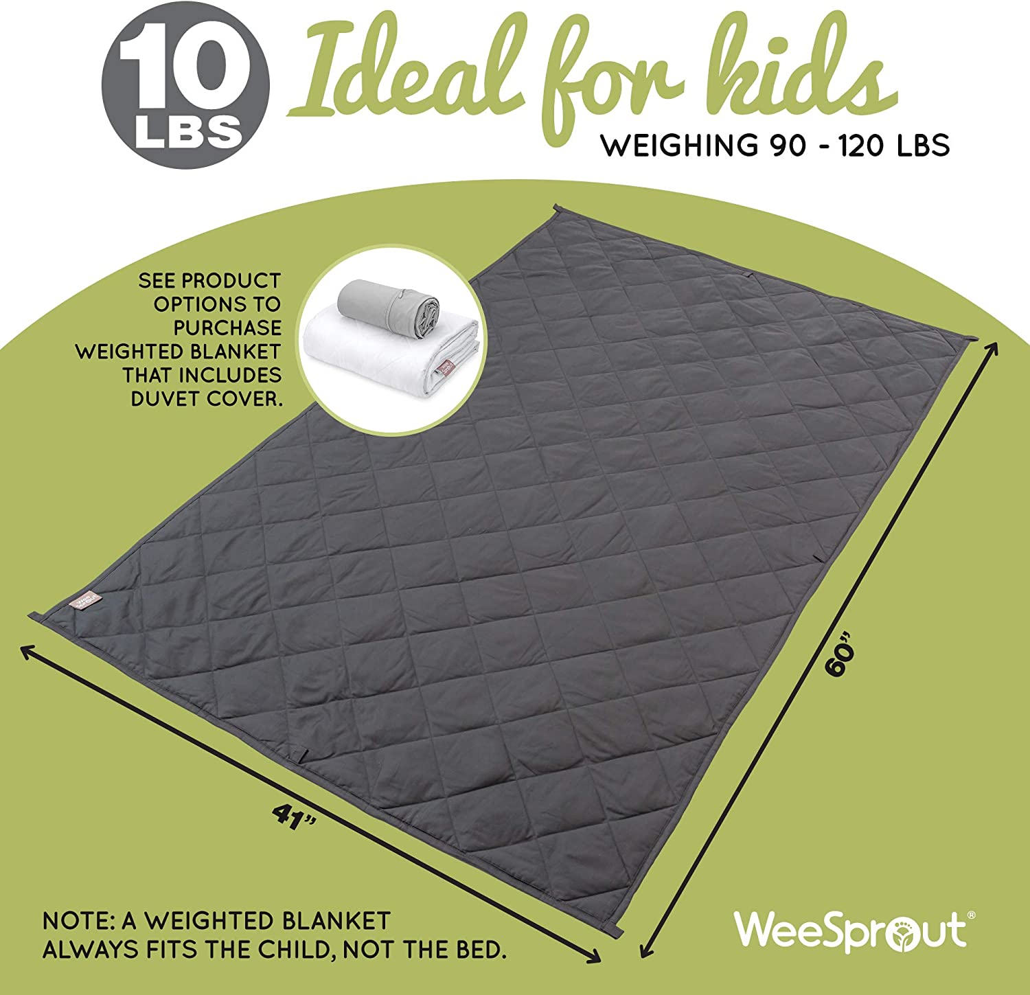 """5 lbs   100/% Organic Cotton Dark Gray Blanket 36/"""" x 48/"""" Small Size Glass Beads Breathable Quilted Pockets Stays Cool WeeSprout Weighted Blanket for Kids for Kids Weighing 40-70 lbs"""