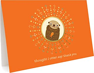 product image for Night Owl Paper Goods Otter Thank You Cards, Box of 5, Gold Foil