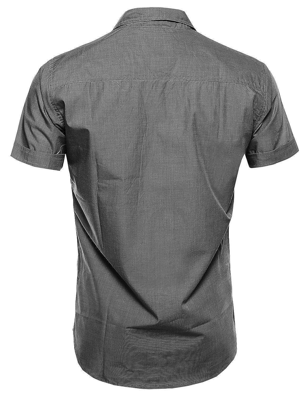 Youstar Mens Classic Short Sleeve Button Down Shirt