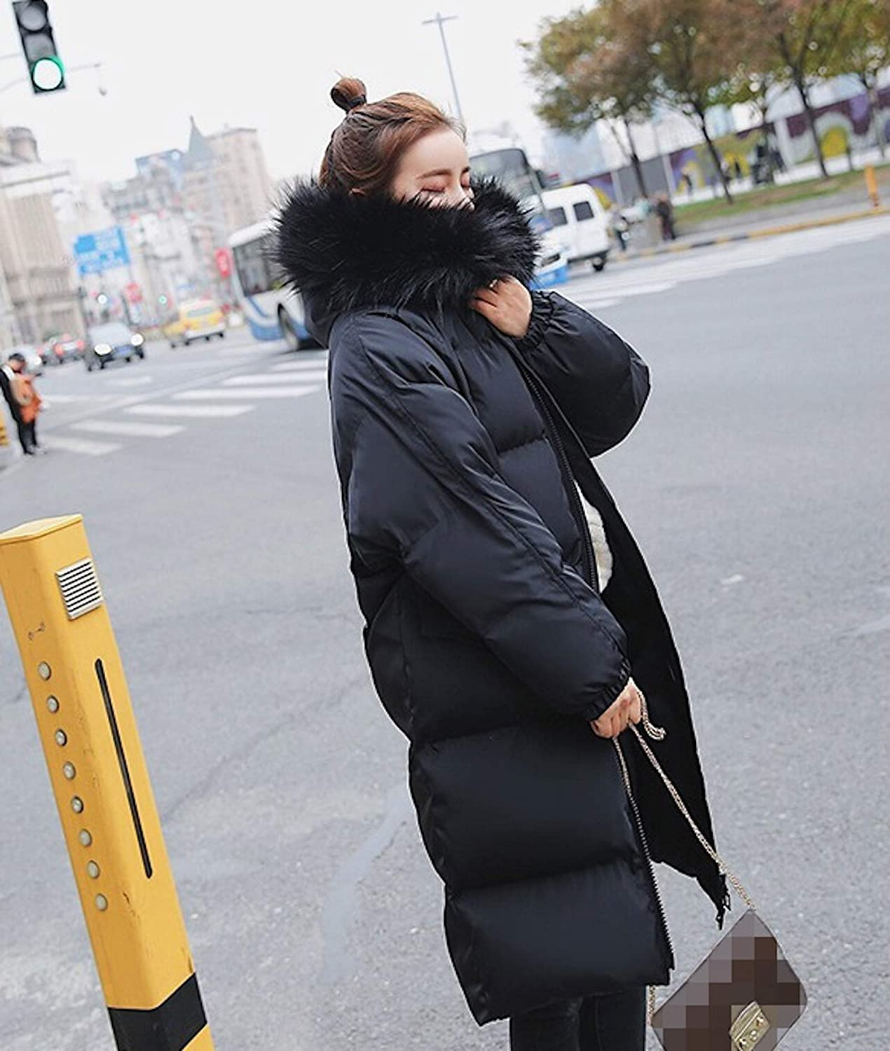 Elonglin Women Winter Padded Hooded Long Quilted Down Coat Loose Thick Overcoat