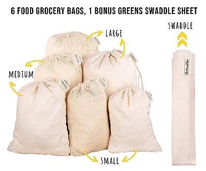Servicio pesado, doble costura con etiqueta de peso Tara - Bolsas de supermercado de algodón orgánico para la compra de residuos cero (7, 3Muselina; ...