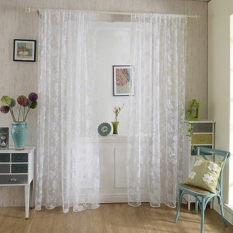 Chlove Transparenter Vorhang Blumen Spitze Erker Vorhänge Fenster Gardine  für Wohnzimmer Schlafzimmer 200cmx100cm (HXB) 1er-Set Weiß