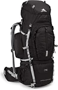 High Sierra Appalachian Top Load Internal Frame Hiking Pack, Black/Black/Silver, 75-Liter