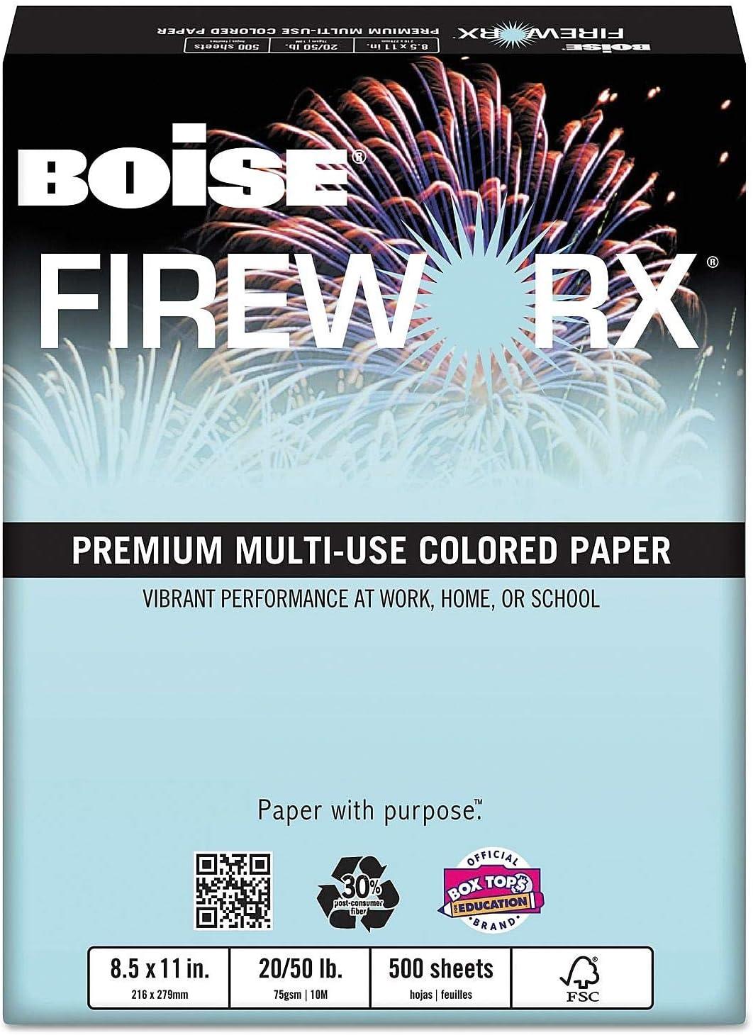 20lb Boise MP2204BE FIREWORX Colored Paper 500 Sheets//Ream Bottle Rocket Blue 8-1//2 x 14