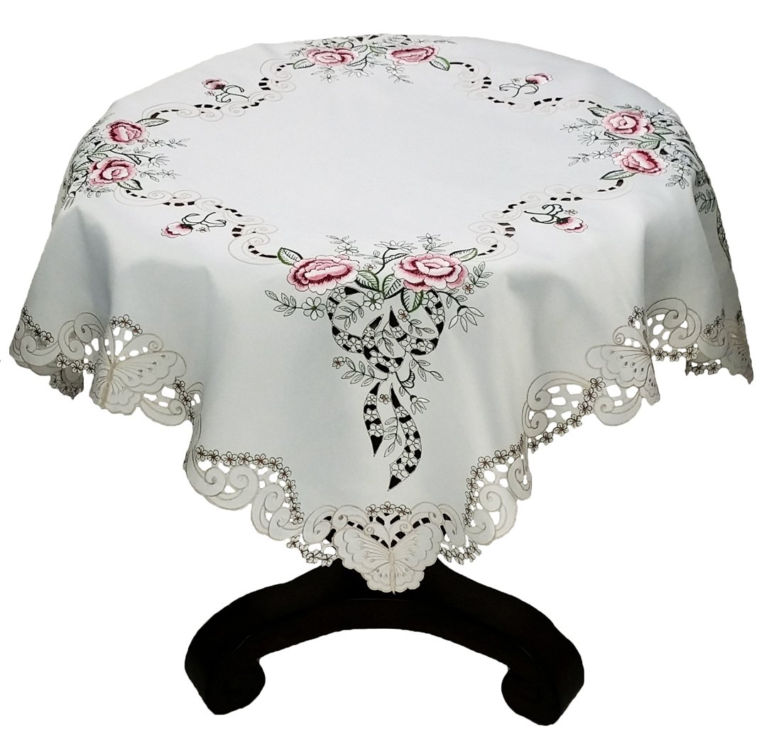 Xia Home Fashions Splendid Meadow Embroidered Cutwork Floral Table Topper, 34-Inch by 34-Inch