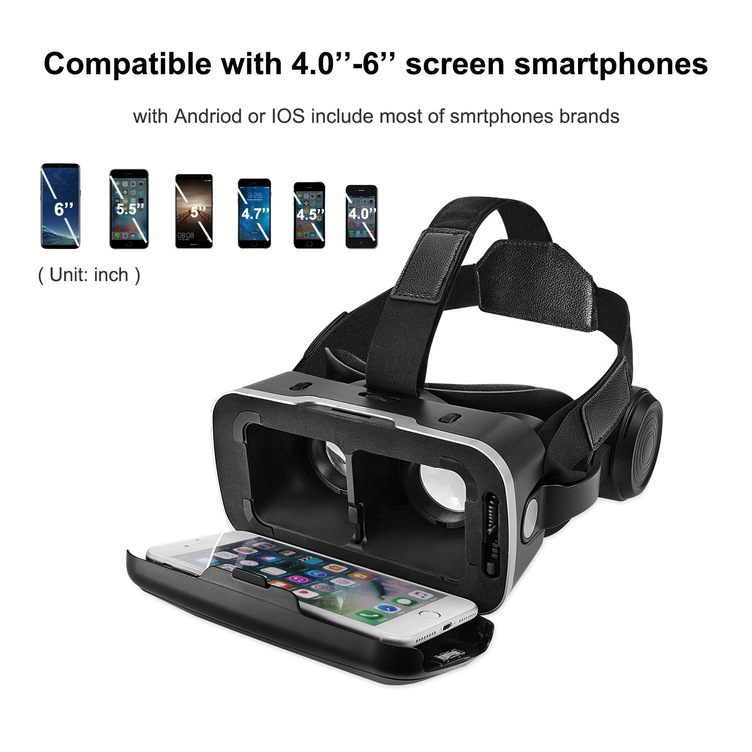 VR Headset, Virtual Reality Headset,VR Glasses,VR Goggles -for iPhone 6s/6 +/6/5, Samsung Galaxy, Huawei, Google, Moto & All Android Smartphone With Headphones & Adjustable Eye Care System by KAMLE (Image #1)