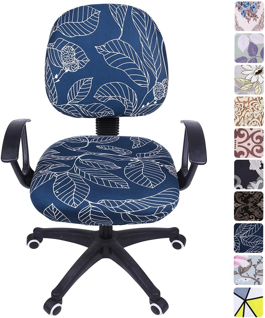 smiry Stretch Print Computer Office Chair Cover, Removable Washable Universal Desk Rotating Chair Slipcover, Blue Leaves