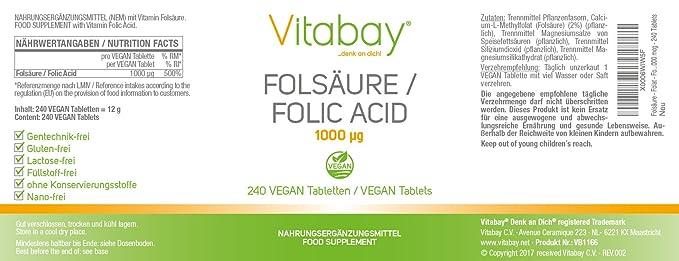 El ácido folique - el ácido folique - el ácido folique 1000 mcg - 240 pastillas: Amazon.es: Salud y cuidado personal