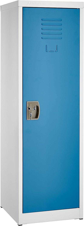 AdirOffice Kids Steel Metal Storage Locker - for Home & School - with Key & Hanging Rods (48 in 1 Door, Blue)