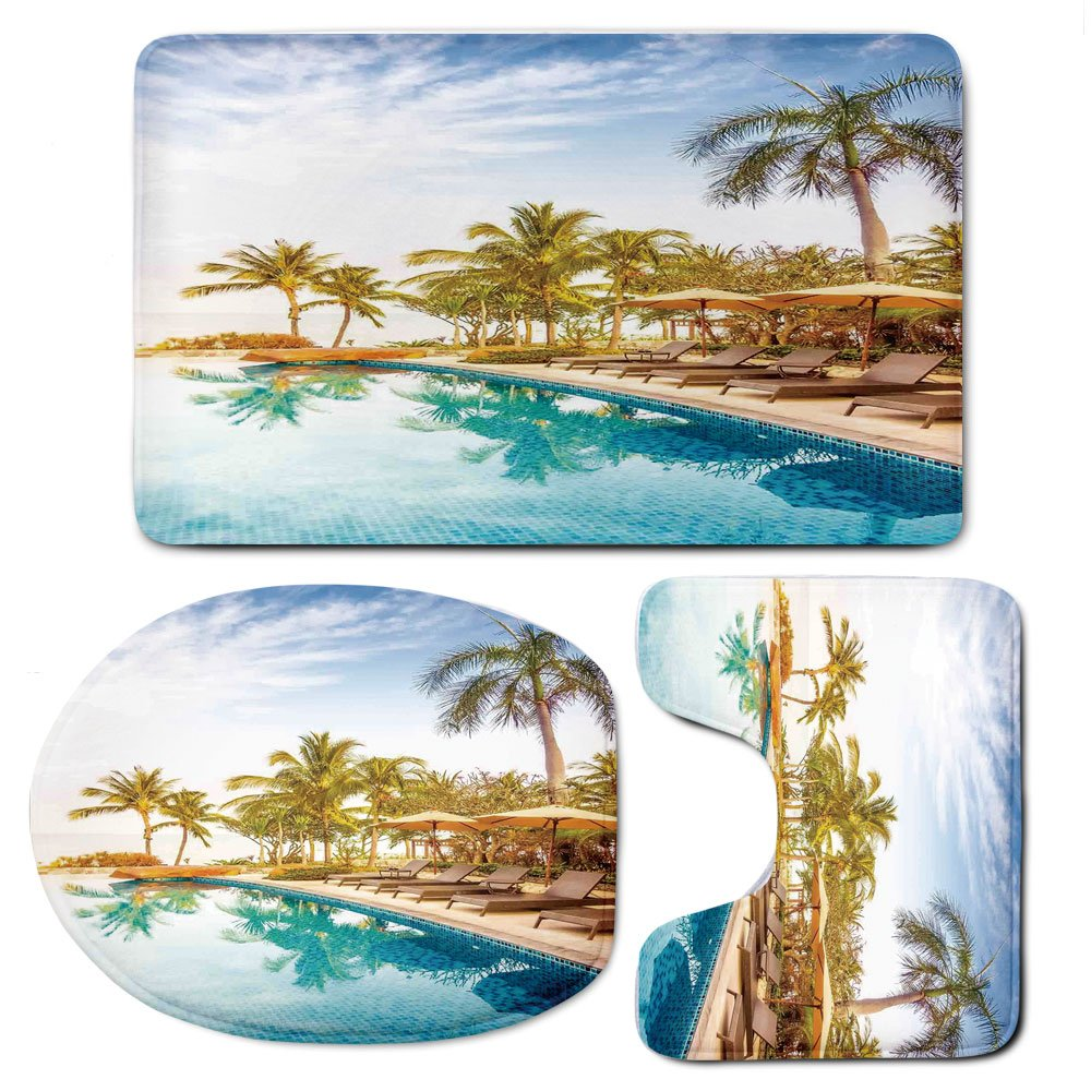 3 Piece Bath Mat Rug Set,House-Decor,Bathroom Non-Slip Floor Mat,Aerial-View-of-A-Pool-in-A-Health-Resort-Spa-Hotel-with-Exotic-Elements-Sports-Modern-Photo,Pedestal Rug + Lid Toilet Cover + Bath Mat,
