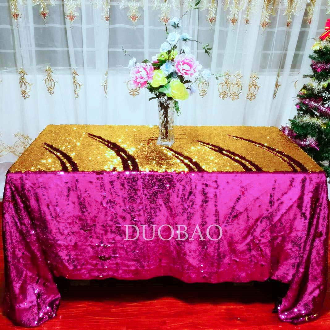 DUOBAO Sequin Tablecloth 60x84-Inch Gold Mermaid Sequin Fabric Fuchsia to Gold Glitter Tablecloth Reversible tablecloths for Rectangle Tables~0516