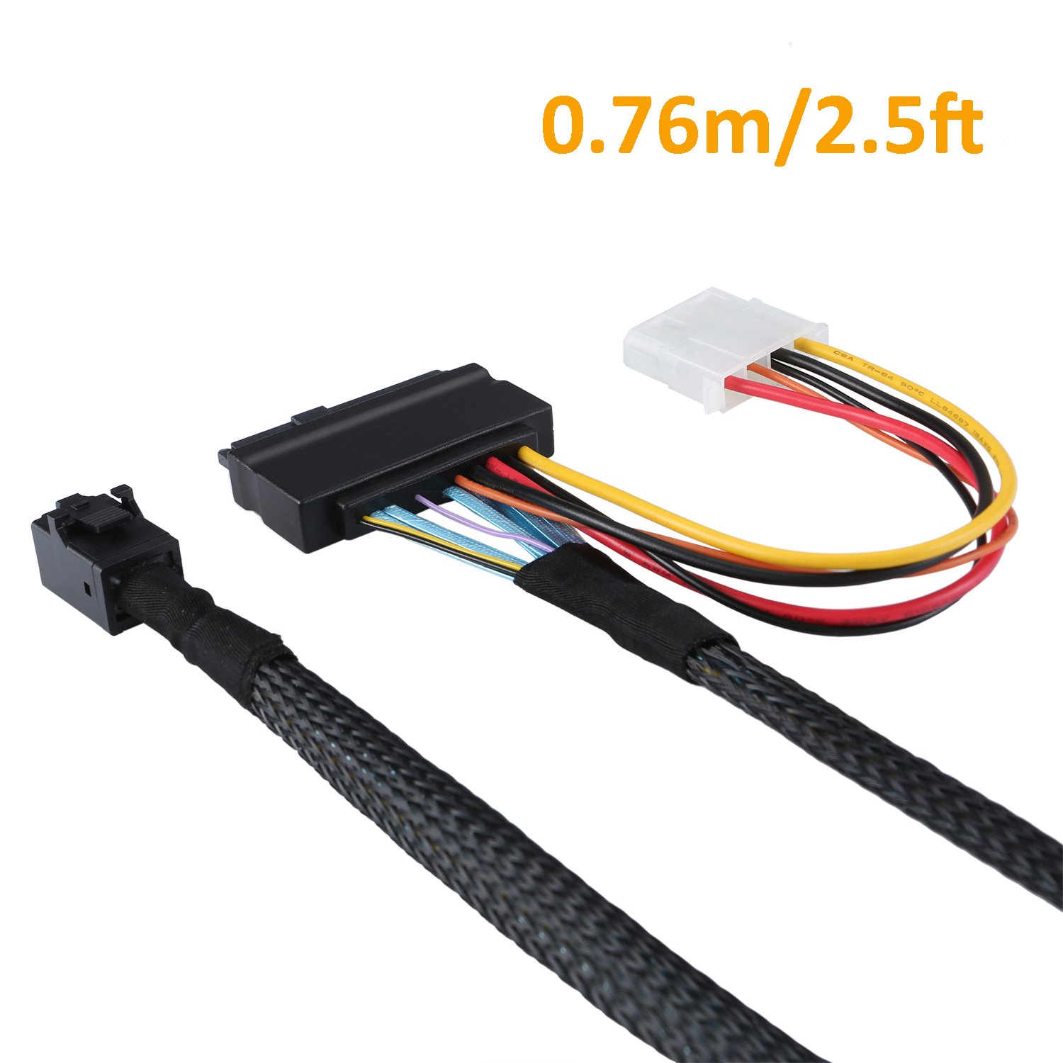 CableCreation 2.5FT Mini SAS HD Cable Internal Mini SAS SFF 8643 to U.2 SFF 8639 Cable with 4 Pin SATA Power Connector for Workstations,Servers and More by CableCreation (Image #2)