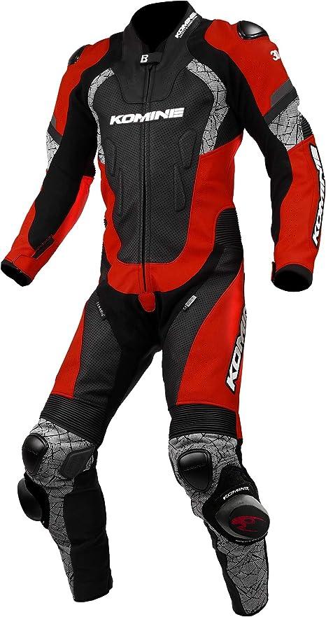 Amazon.co.jp: コミネ KOMINE バイク レーシング レザー スーツ プロテクター 革 本革 つなぎ レース Red/Black L  S-52 02-052: 車&バイク