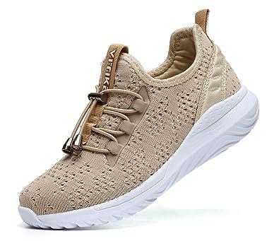 Chaussures de Course Femme Fitness Baskets Mode Fille Garçon Running  Sneakers(Abricot 31 EU) 4a5539a5aba