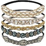WIOR 5Pcs Rhinestone Headbands for Women, Fashionable Handmade Diamond Elastic Headbands, Crystal Beaded Elastic Hairband for