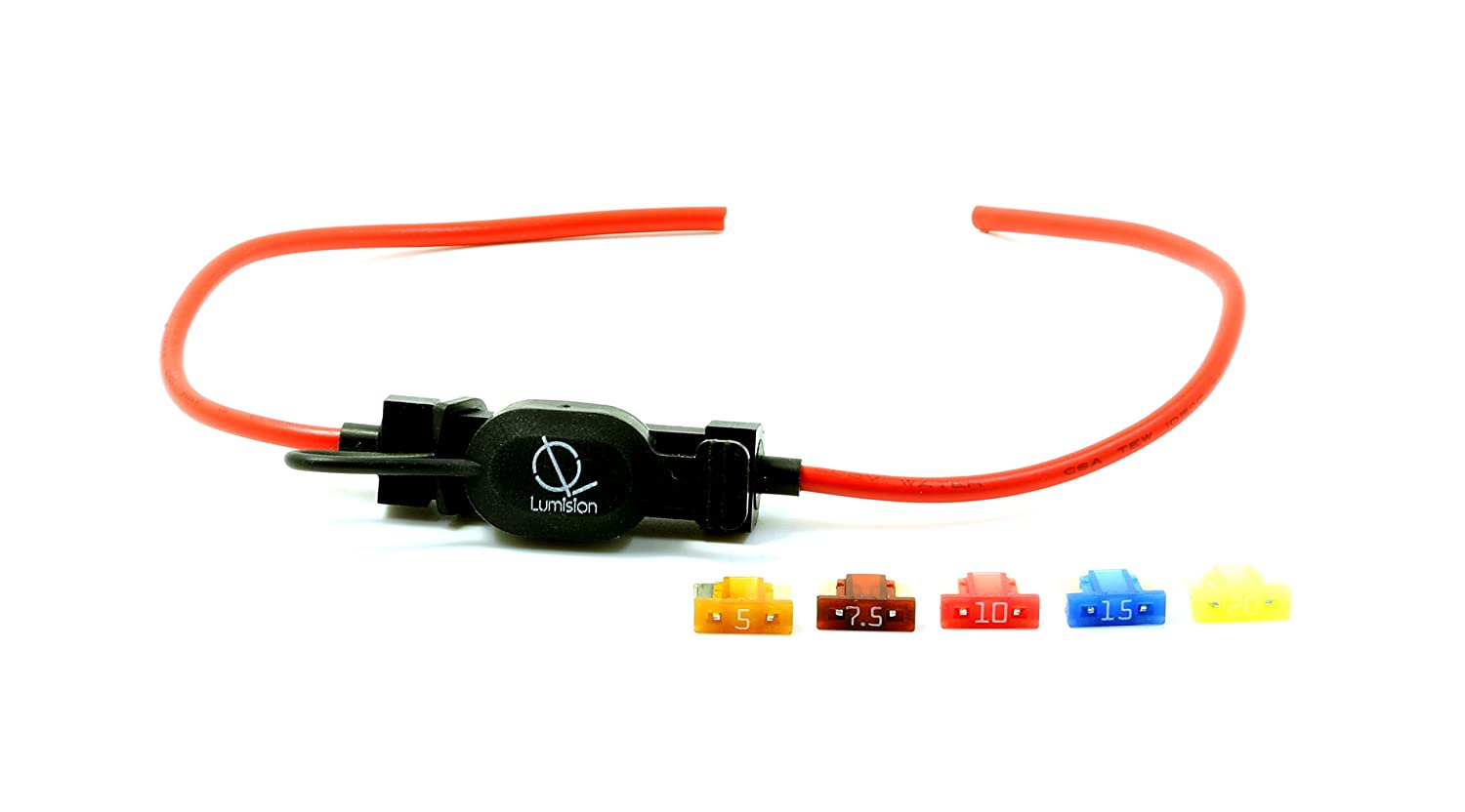Lumision 16 AWG Low Profile Mini Blade Style APS ATT Fuse Holder Car / Boat + 5, 7.5, 10, 15, 20A Fuse Set