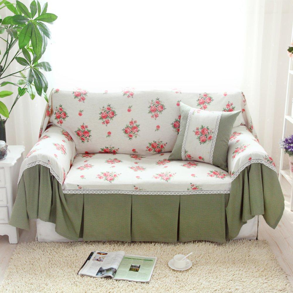 Amazon.com: HYDBFKJUBVFU Floral Printed Sofa Cover,Linen Korean ...