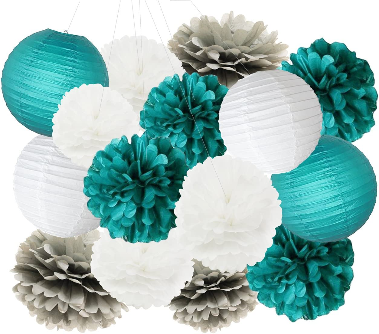 Teal Bridal Shower Decorations White Teal Grey Tissue Paper Pom Pom Paper Lanterns Teal Themed Party Wedding Teal Blue Baby Shower Teal Sweet 16 Birthday Party Decorations Mermaid Party Supplies