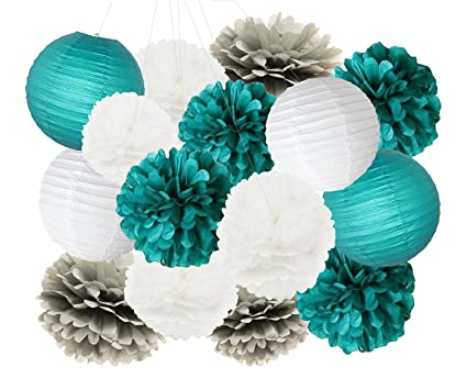 214dda1e31ead Teal Bridal Shower Decorations White Teal Grey 10inch 8inch Tissue Paper  Pom Pom Paper Lanterns Teal Themed Party Wedding Teal Blue Baby Shower Teal  ...