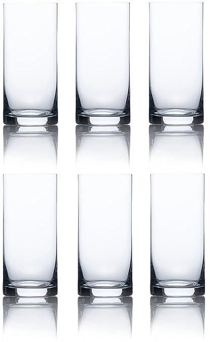 Circleware Vasos de Cristal Agua, Zumo y té hielado, 453 ML Enfriadores 6 Piezas
