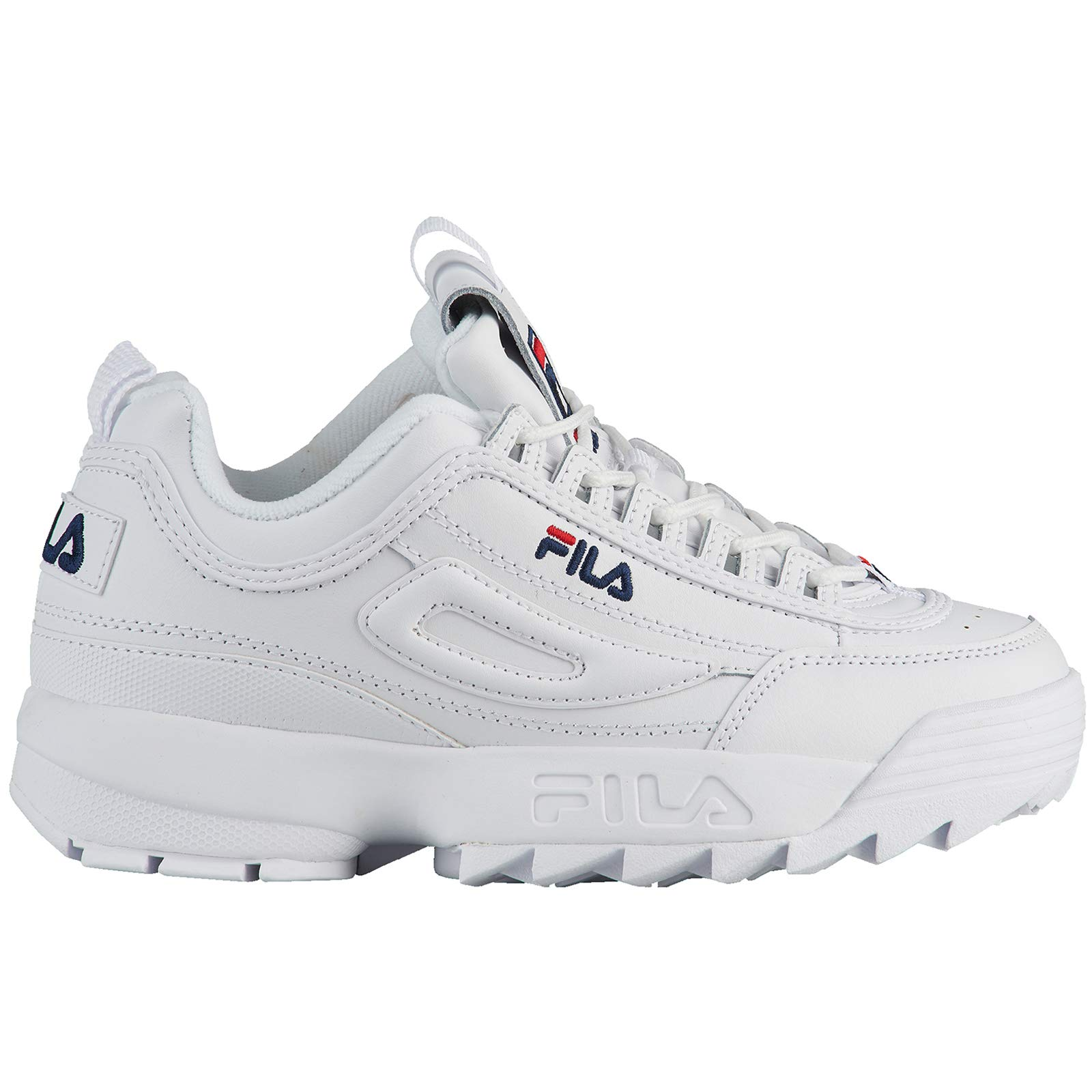 Fila Youth Disruptor II Synthetic White Peacoat Red Trainers 5 US