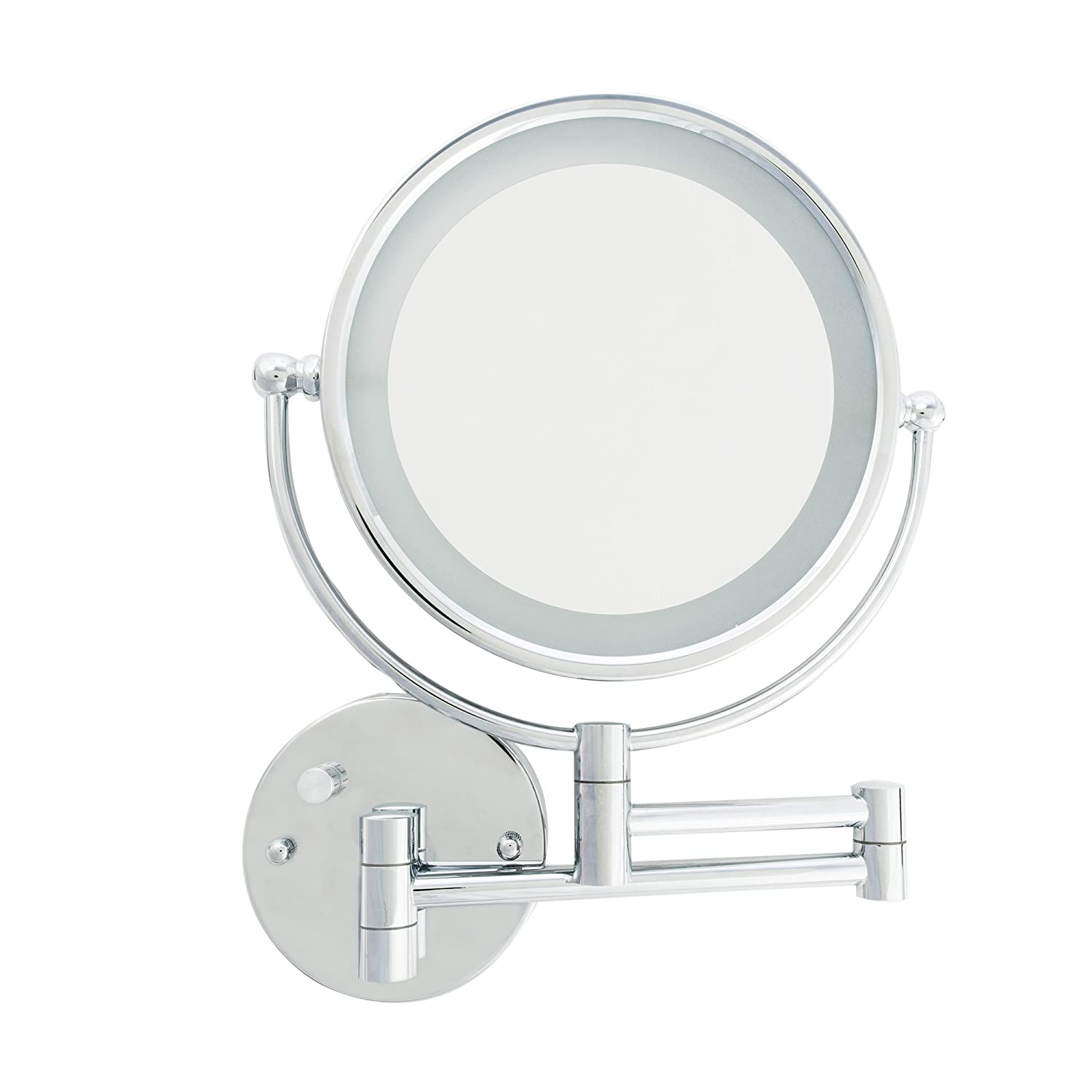 Danielle D158 LED Lighted 10X Makeup Mirror with Wall Mount, Chrome Upper Canada Soap
