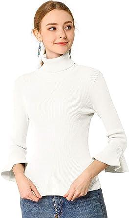 Allegra K Camisa Ajustado Suéter De Punto Elástico De Cuello Alto Pulóver Mangas con Volantes para Mujeres Blanco M