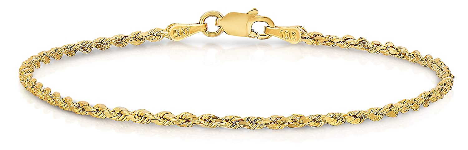 SL Chain Collection 10k Yellow Gold Diamond Cut Hollow Rope Chain Bracelet and Anklet for Men & Women, 2mm B-RSV-014-7