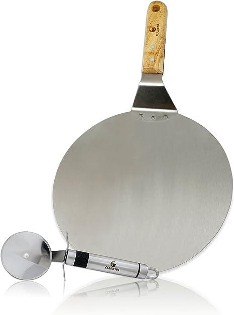 Nonna Pizzaschaufel Edelstahl /Ø25,5 L/änge 43 cm Pizzaspachtel rund f/ür BBQ oder Ofen mit Holzgriff