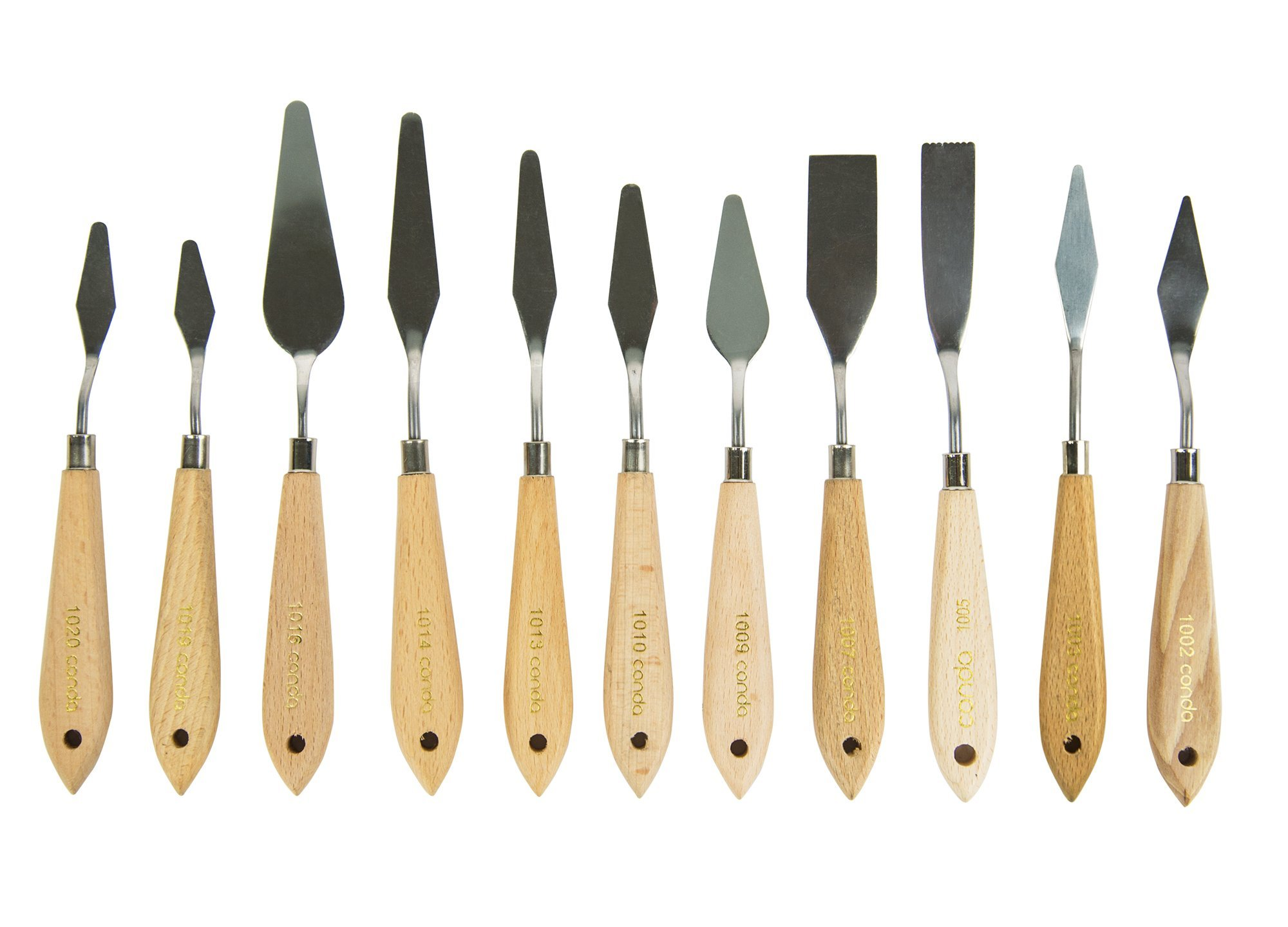 CONDA 11 Piece Stainless Steel Spatula Palette Knife Palette Knife Painting Wood Handle