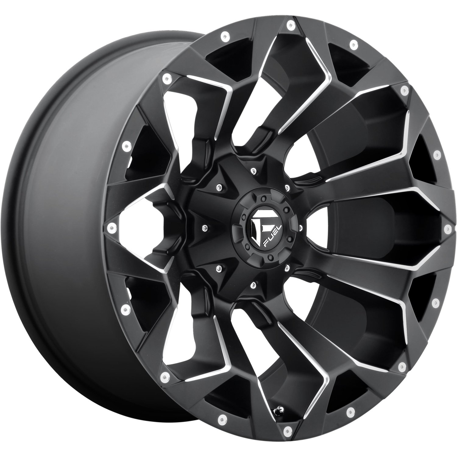 18 x 9. inches //5 x 5 inches, -12 mm Offset Fuel Assault black Wheel with Painted Finish