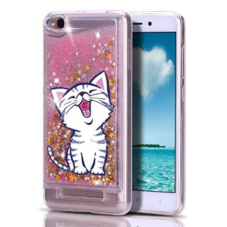 Mosoris Funda Xiaomi Redmi 4A, Transparente Carcasa Purpurina Gato 3D Bling Glitter Líquido Brillar Case Silicona Cubierta Anti Arañazos Tapa Choque ...
