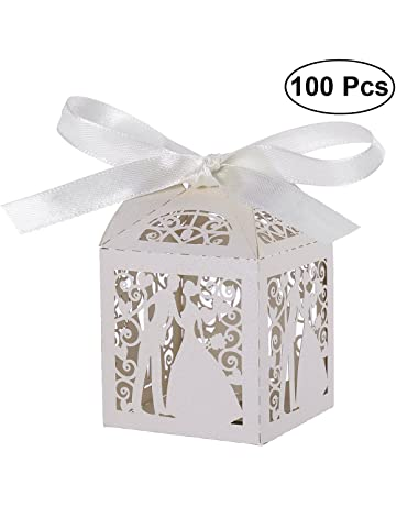 09d68df6206 Tinksky 100pcs Couple Design Luxury Lase Cut Party Wedding Favor Ribbon  Candy Boxes Gift Box Table