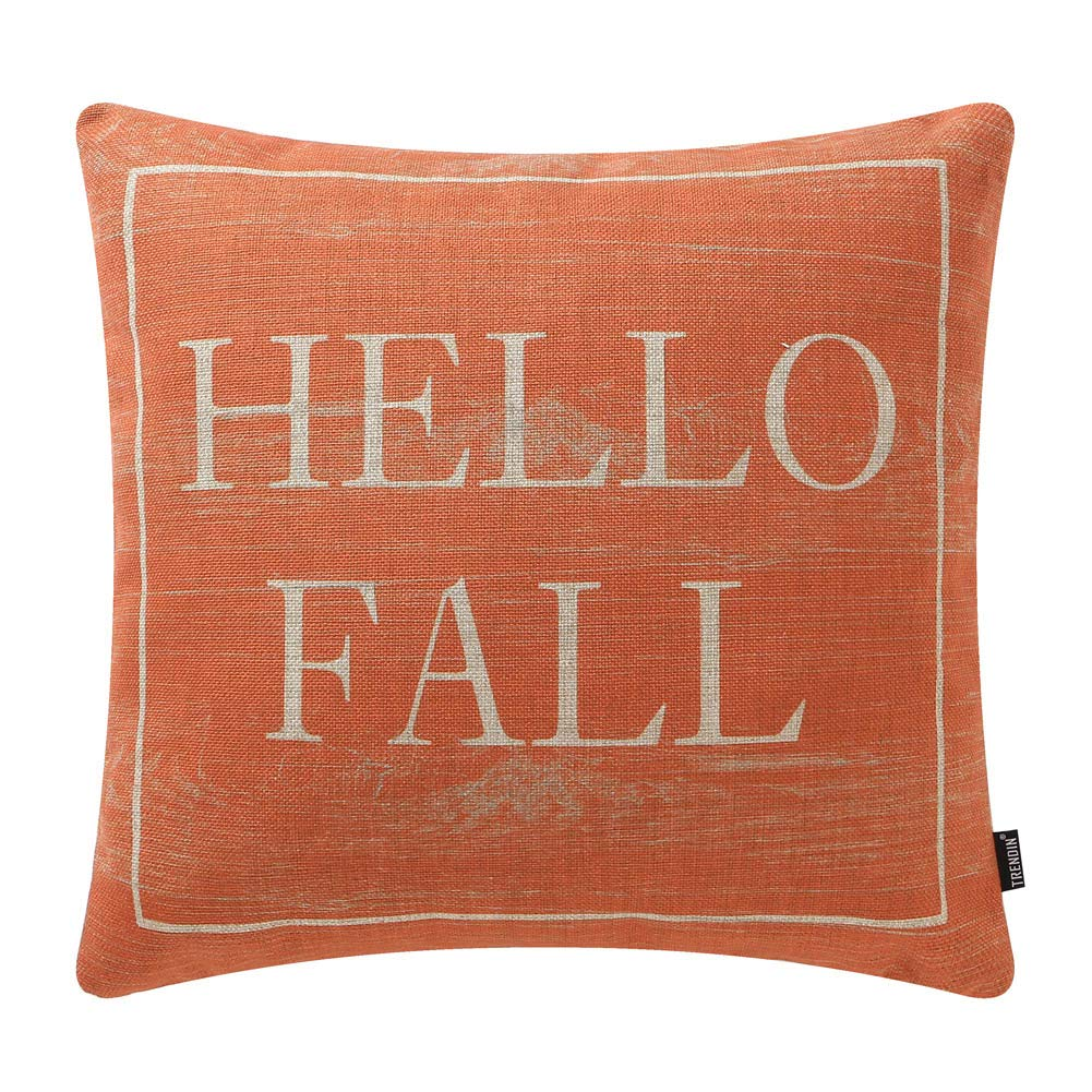 TRENDIN Decorative Throw Pillow Cover 18x18 inch Wooden Plank Orange Hello Fall Cushion Case Square Shape PL340TR