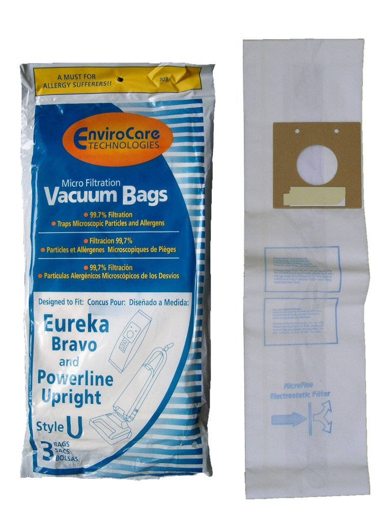 3 Eureka Style U Allergen Bags, Bravo II, Powerline, Direct Air, World Vac, White Westinghouse Upright Vacuum Cleaners, 57802A, 54310, 54310C, 54310B, 54310B-6, 57802B, 54918, 54918A-10