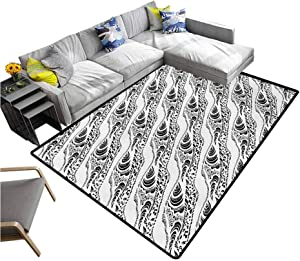 Abstract Rug Pad Animal Skin Patterns Monochrome Zebra Panther Lion and Other Creatures Rugs Mat for Living Room Bedroom Black White (6'x8')