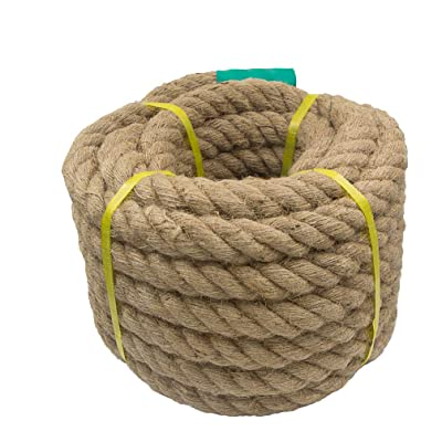 Aoneky Jute Rope - 1.18/1.5/2 Inch Twisted Hemp Rope for Crafts, Climbing, Anchor, Hammock, Nautical, Cat Scratching Post, Tug of War, Decorate (1 1/5 inch x 48 Feet)