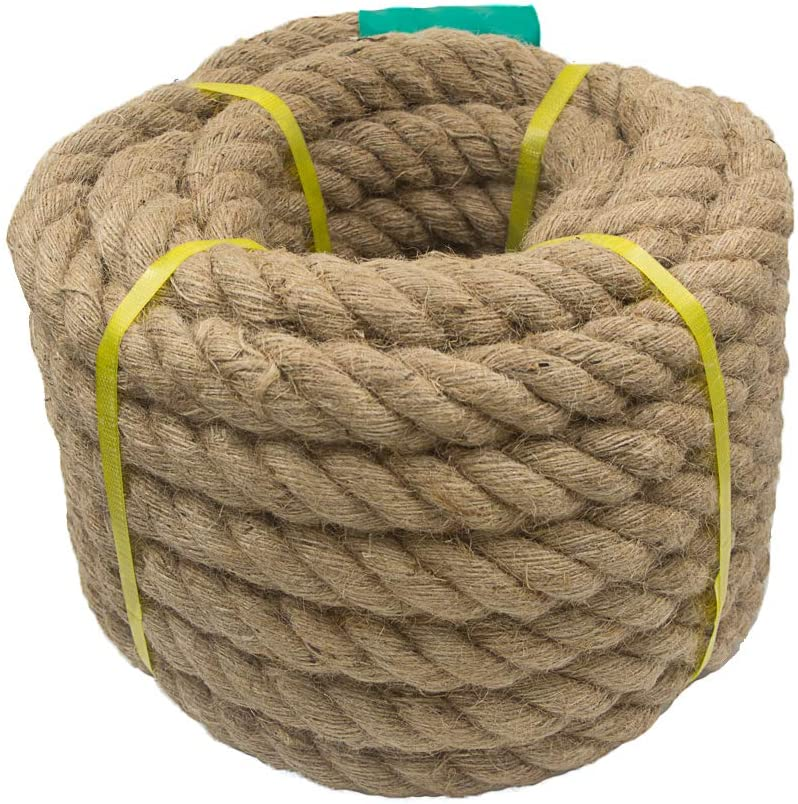 Aoneky Jute Rope - 1.18/1.5 Inch Twisted Hemp Rope for Crafts, Climbing, Anchor, Hammock, Nautical, Cat Scratching Post, Tug of War, Decorate (1 inch x 48 Feet) - -