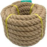 Aoneky Jute Rope - 1.18/1.5/2 Inch Twisted Hemp Rope for Crafts, Climbing, Anchor, Hammock, Nautical, Cat Scratching…