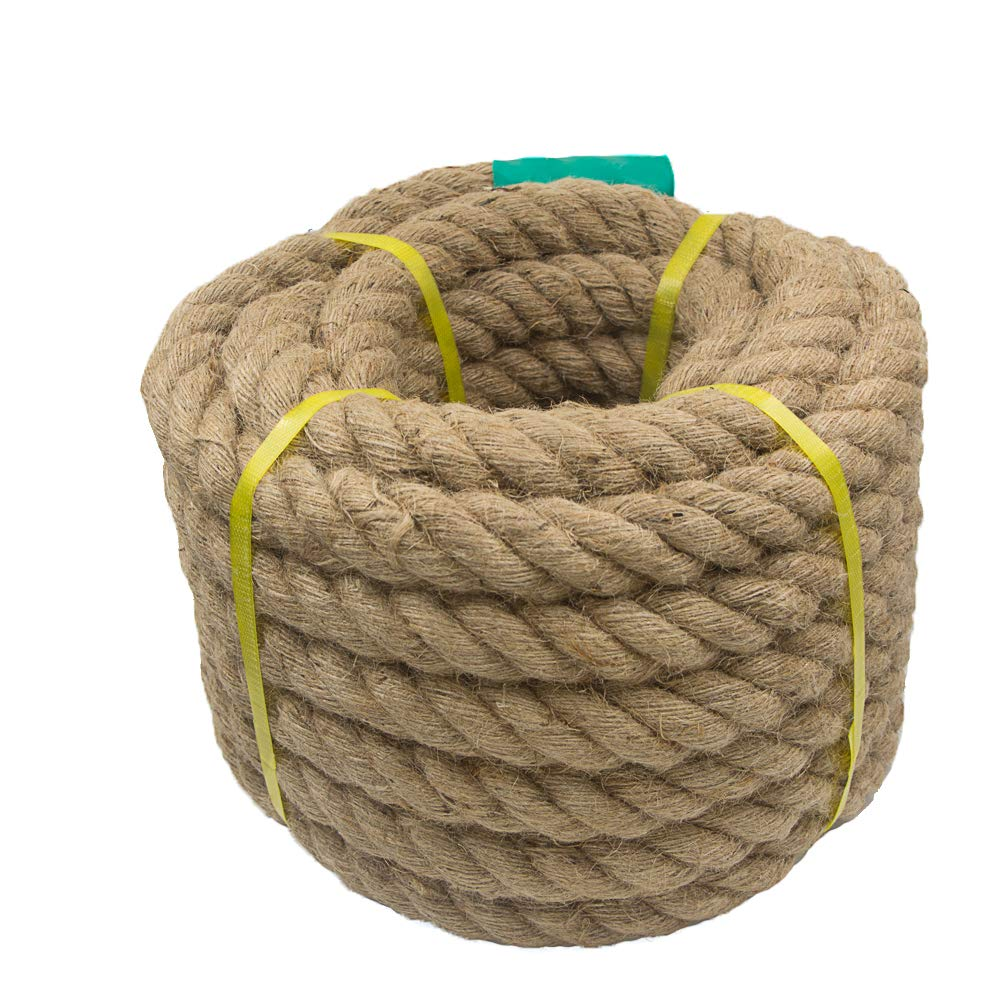 Aoneky Jute Rope - 1.18/1.5 Inch Twisted Hemp Rope for Crafts, Climbing, Anchor, Hammock, Nautical, Cat Scratching Post, Tug of War, Decorate (1 1/5 inch x 100 Feet)