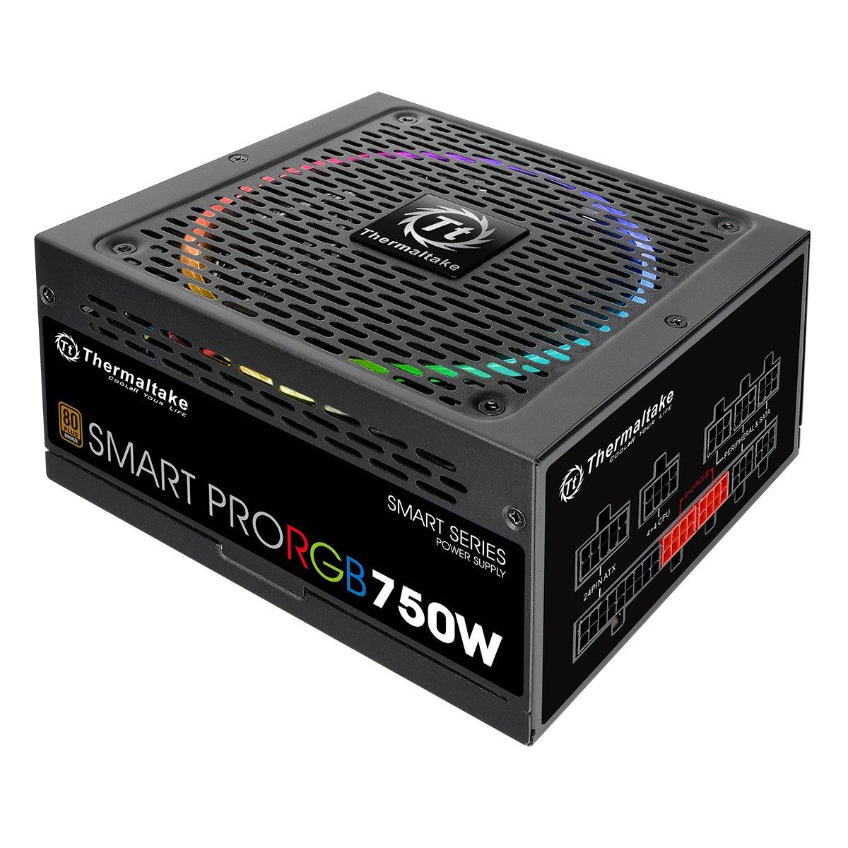 Thermaltake Smart Pro RGB Alimentatore da 750 W, Modular 80+ Bronze, Nero PS-SPR-0750FPCBEU-R