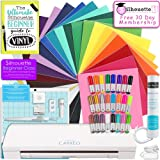 Silhouette CAMEO 3 Bluetooth Starter Bundle with 26 12x12 Oracal 651 Sheets, Membership, Transfer Paper, Guide, Class, 24 Sketch Pens, and More