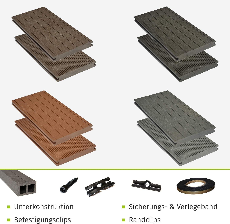 40x60 mm Unterkonstruktion /& Clips I Dielenl/änge 2,90 m I Fl/äche 5 m/² HORI/® WPC-Terrassendielen massiv dunkelgrau-anthrazit I Komplett-Set inkl