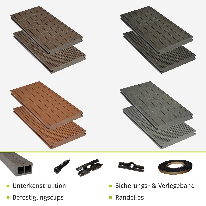 HORI/® WPC-Terrassendiele Kuba grau I Komplett-Set inkl 40x60 mm Unterkonstruktion /& Clips I Dielenl/änge 4,40 m I Fl/äche 22 m/²