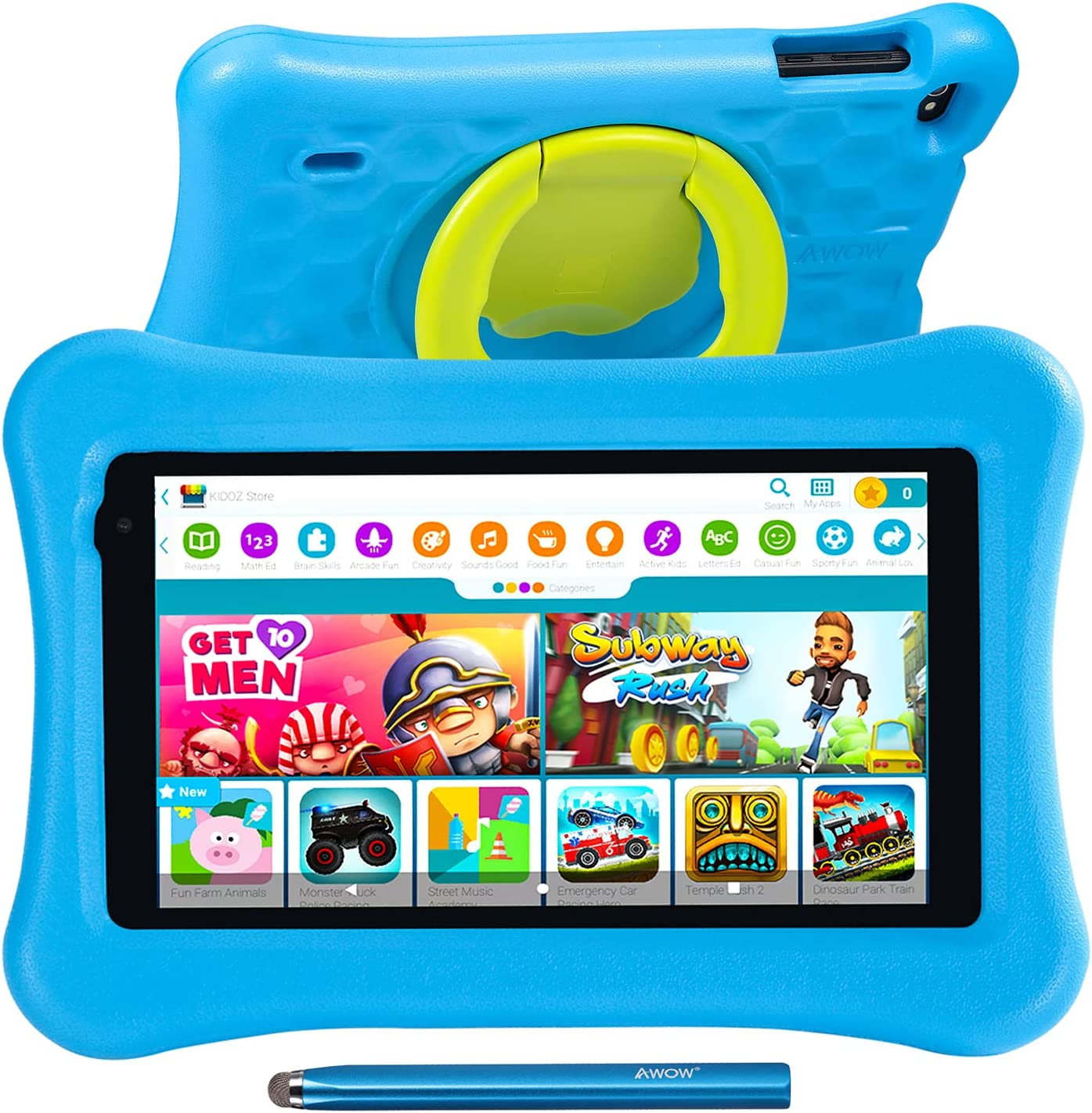 7 inch Kids Tablets Android 10 Go, 2+16GB ROM, KIDOZ Pre-Installed, 2.4G WiFi only, 1024x600 Touchscreen, AWOW Funtab 701, Adjustable Kid-Proof Case, Active Pen (7 inch-KIDOZ-216-Blue)