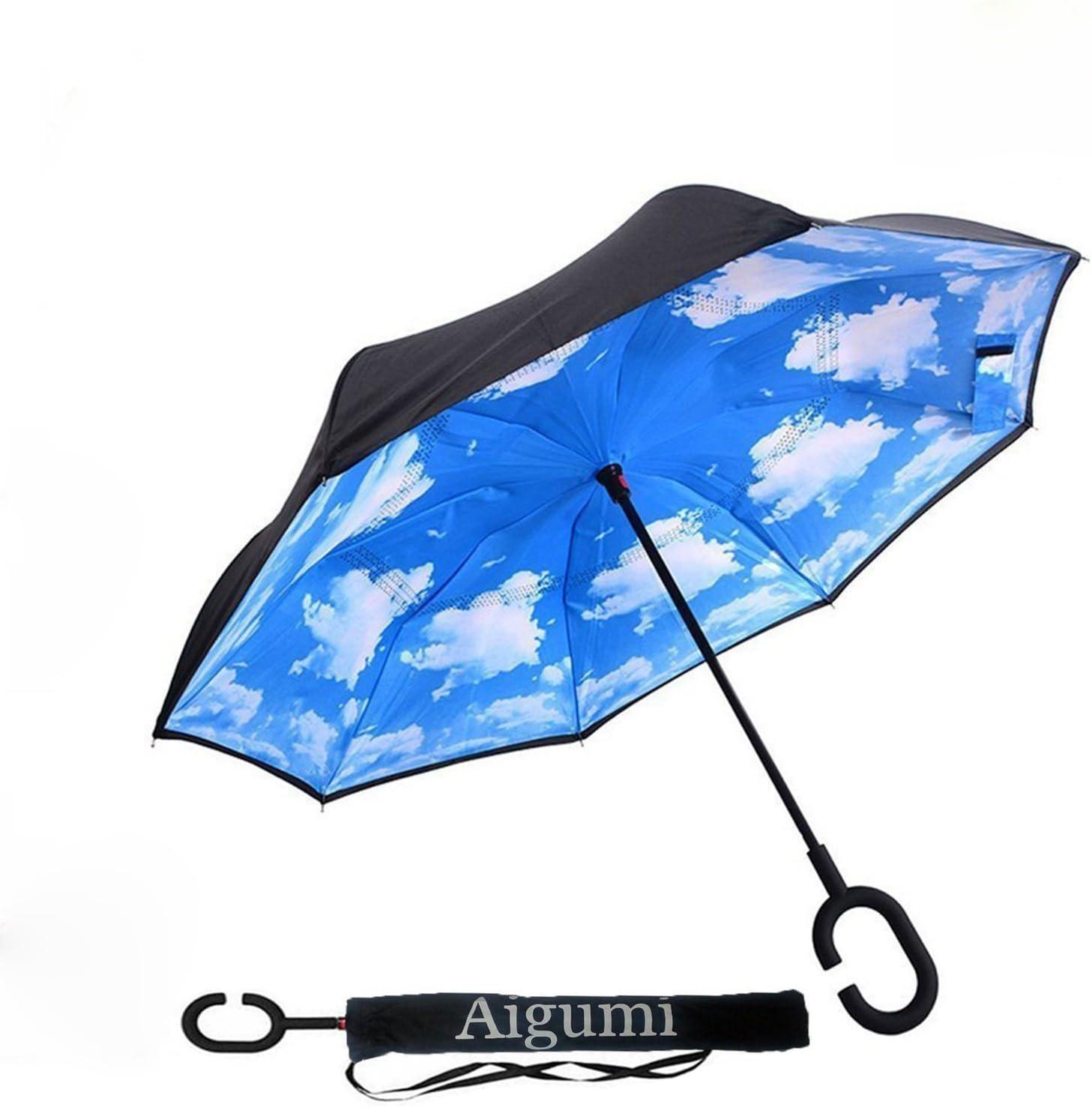 aigumi innovador paraguas a prueba de viento Reverse plegable ...