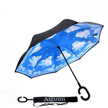 aigumi innovador paraguas a prueba de viento Reverse plegable doble capa Sol Bloque Medio Ambiente bumbershoot